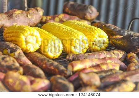 broiled yam and broiled corn on the broiled