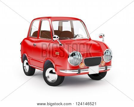 retro car red in 60s style isolated on a white background