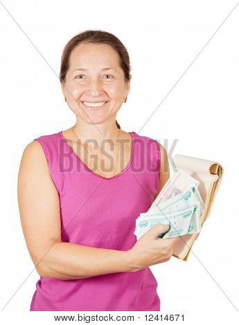Happy  Woman With Notebook And Money
