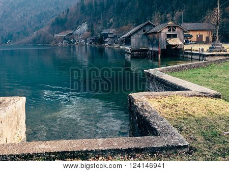 Boats dock on the mountain lake in Hallstatt Austria