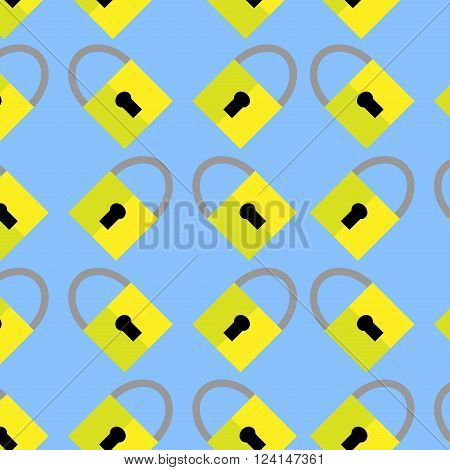 Pattern padlock background. Protection security mechanism keyhole and lock. Vector flat design illustration