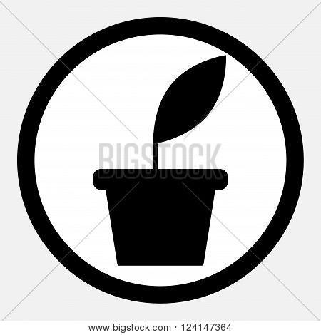 Business growth. Plant grow. Icon flat monochrome. Business green plant growth growing business. Vector flat design illustration