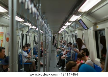 Bangkok Thailand - February 2 2016 : MRT subway train runs in Bangkok. Many people in Bangkok used subway to save time.