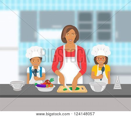 Mother and kids cooking together at a kitchen. Mom cuts vegetables for salad happy little son and daughter help her. African American family domestic pastime background. Vector flat illustration