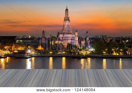 Opening wooden floor, Twilight at Wat Arun, Bangkok Thailand