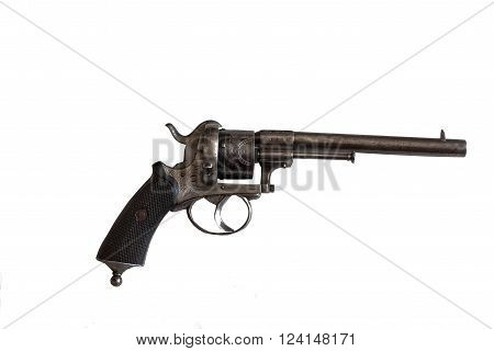 revolver for self-defense on a white background