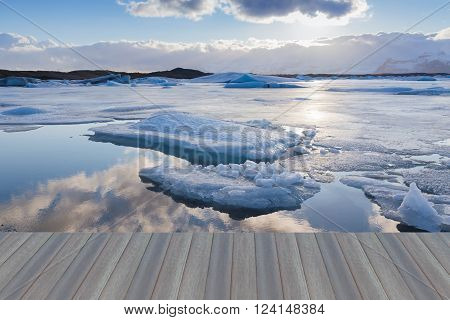 Opening wooden floor, Beauty Jokulsarlon lake iceberg lagoon Southeast of Iceland