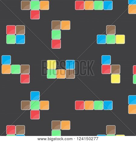 Pattern color block game. Block pattern meccano brick and cube seamless shape repetition for play with geometric square building. Vector flat design illustration