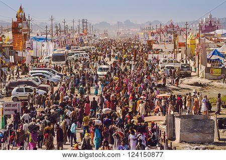 Allahabad, India - February 10, 2013: Crowd at Kumbh Mela festival, the world's largest religious gathering, in Allahabad, Uttar Pradesh, India.