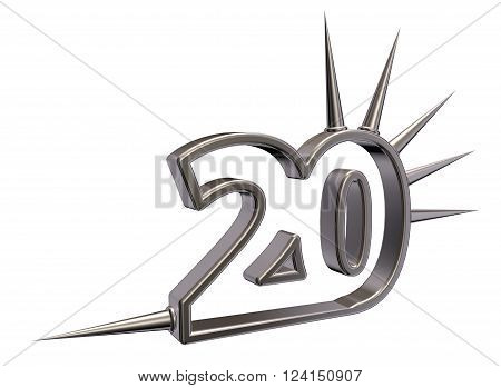 number twenty with prickles on white background - 3d illustration