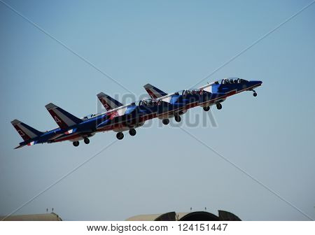 IZMIR/TURKEY-JUNE 5, 2011: French Air Force Aerobatic Team Patrouille De France's Alphajets at 2nd Main Jet Base-Cigli for Airshow.  June 5, 2011-Izmir/Turkey
