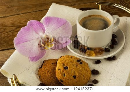 Coffee cup and cookies. Cup of coffee. Coffee break. Morning coffee. Coffee cup