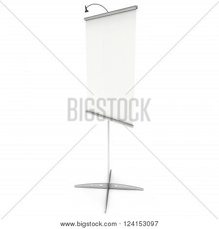 Blank Roll Up Expo Banner Stand. Trade show booth white and blank roll-up. 3d render illustration isolated on white background. Template mockup roll up banner for your expo design.