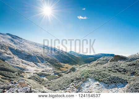 Winter Mountains And Sunny Green Valley