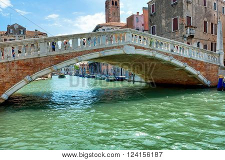 Rialto bridge on Grand Canal, Venice, Italy