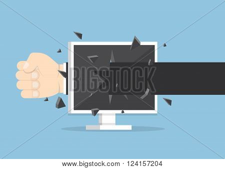 Businessman Hand Throw A Punch Through Monitor Screen