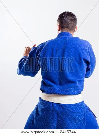 karate teacher back on gray background is ready