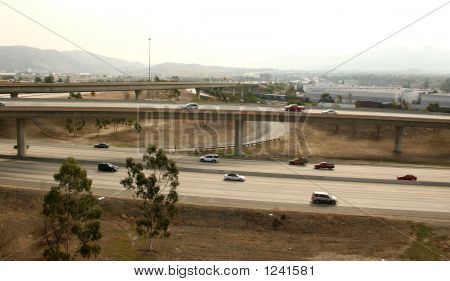 Highway Overpass With Traffic