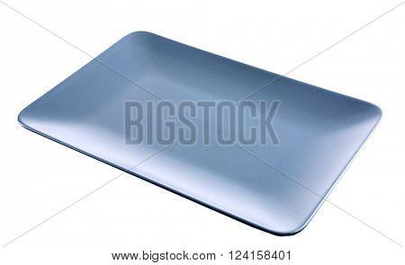 Rectangular grey ceramic dish, isolated on white