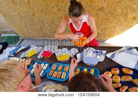 Lazarevskoe, Russia - august 08, 2012, Adygei cheese tasting samples, Lazarevskoe
