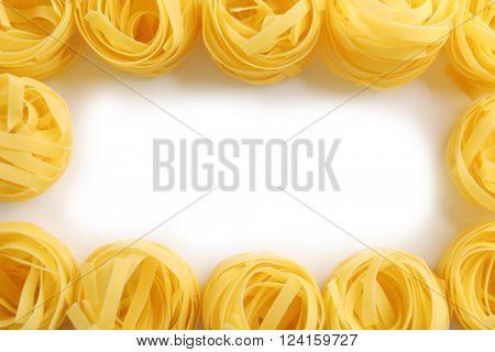 Bird's nests pasta,  isolated on white