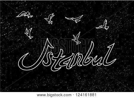 This is perfect linear handdraw style illustration of Istanbul topic. T