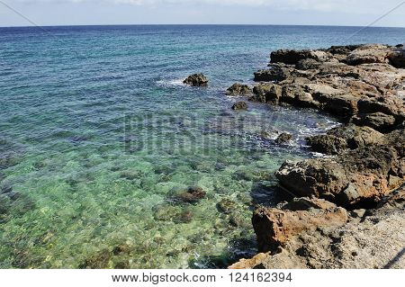 sea and rugged coastline in summer day in Monopoli Apulia Southern Italy