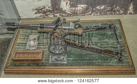 MOSCOW RUSSIA- DECEMBER 16 2015: - Current model of a howitzer-gun model 1937 year. Shoots half charge regular cartridge 7.62mm at the Central Museum of the armed forces on December 16; 2015 in Moscow
