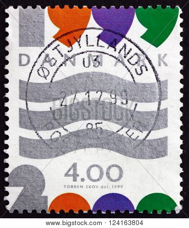 DENMARK - CIRCA 1999: a stamp printed in Denmark shows Wavy Lines New Year 2000 circa 1999