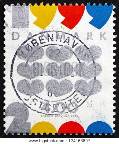DENMARK - CIRCA 1999: a stamp printed in Denmark shows Hearts New Year 2000 circa 1999