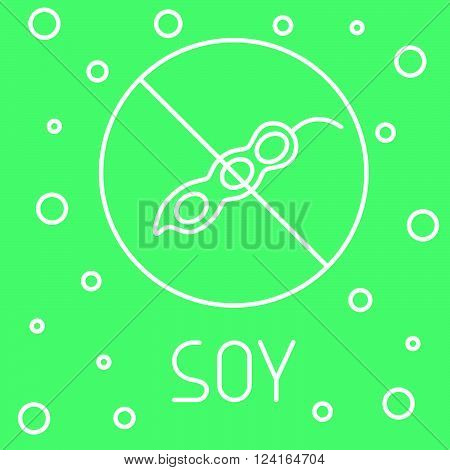 Vegan logotype for marking packs of healthy food free of gmo, trans fat, soy.