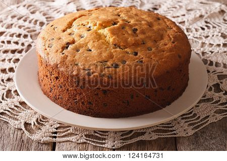Freshly Baked Biscuit Cake With Chocolate Chips Close-up. Horizontal
