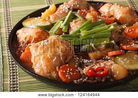 Korean Food Jjimdak: Stewed Chicken With Vegetables Close-up. Horizontal
