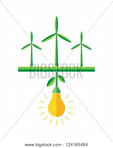 Wind turbines generators in the field - vector illustration. Green field with wind turbine and the plant in the form of a light bulb in the center. Concept of green energy.