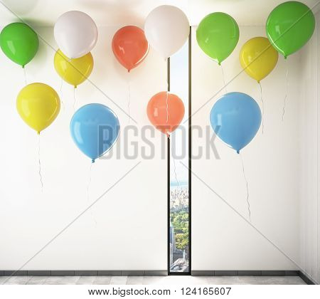 Room interior with colorful helium balloons rising up to the ceiling. 3D Render