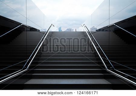 Empty Black Stairs With Skyline