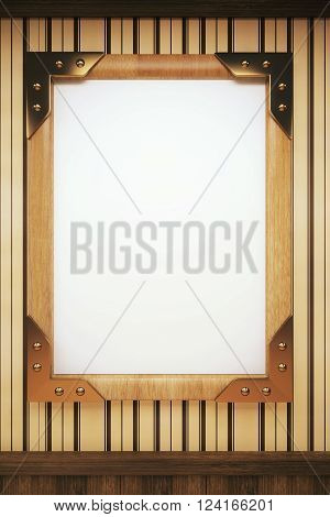 Blank wooden picture frame hanging on wall. Mock up 3D Render