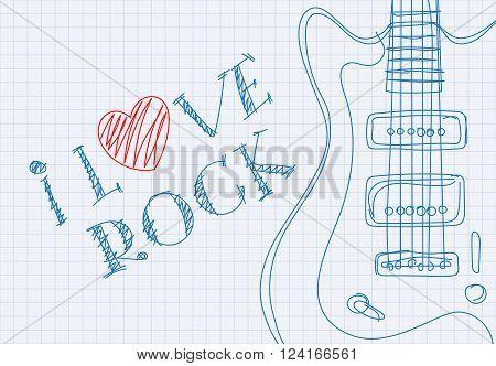 Inscription I love rock on notebook sheet patterned guitar