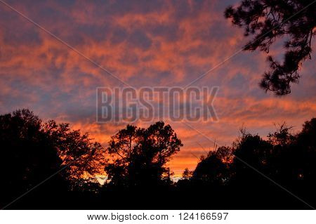 Fiery Sunset Sky, Orange And Blue