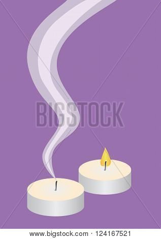 Candle flame and candle smoke on violet background vector