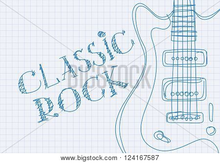 Inscription classic rock on notebook sheet patterned guitar
