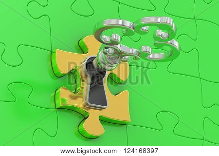 Golden key and green puzzle 3D rendering