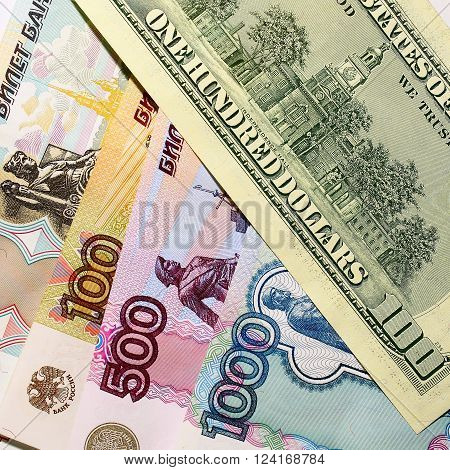 Ruble Dollar Currency banknotes of Russia and the US