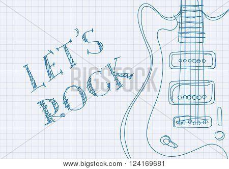 Inscription let's rock on notebook sheet patterned guitar