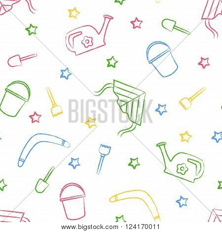 Seamless pattern children's color crayon drawings on white background. Hand-drawn style.Seamless vector wallpaper with the image of kite flying, head, boomerang, star, bucket, shovel, rake