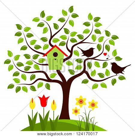 vector tree with nesting bird box and couple of birds isolated on white background