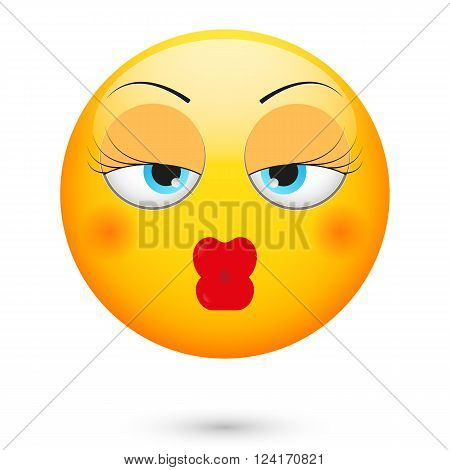 Babe kiss emoticon. Isolated vector illustration on white background