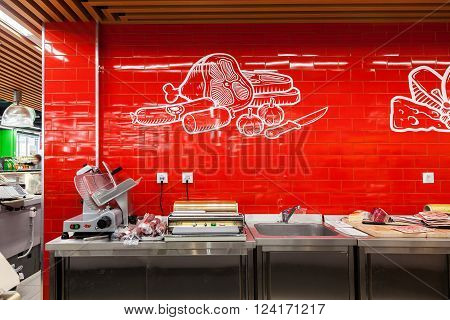 SAMARA RUSSIA - MARCH 29 2016: Meat section in the hypermarket Perekrestok. One of largest retailer in Russia