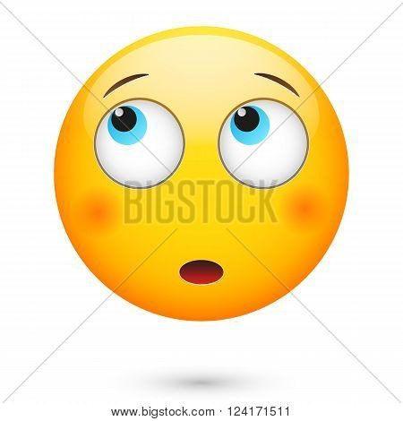 Emoticon thinking. Isolated vector illustration on white background