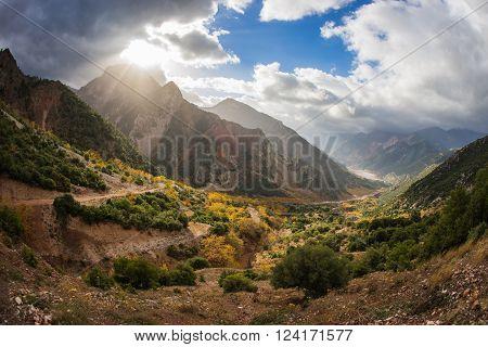 Mountain autumn landscape in the sunlight, Evritania, Greece